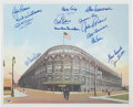 Autographs:Photos, Brooklyn Dodgers Multi-Signed Ebbets Field Lithograph....