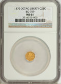 California Fractional Gold: , 1870 25C Liberty Octagonal 25 Cents, BG-759, R.4, MS61 NGC. NGCCensus: (0/11). PCGS Population (6/52). (#10586)...