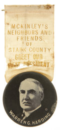 """Political:Ribbons & Badges, Warren G. Harding: Impressive 1¾"""" 1920 Campaign Button Suspended from a Silk Ribbon. ..."""