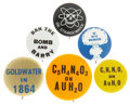 Political:Pinback Buttons (1896-present), Barry Goldwater: Lot of Six Anti-Goldwater Pinbacks.... (Total: 6 Items)