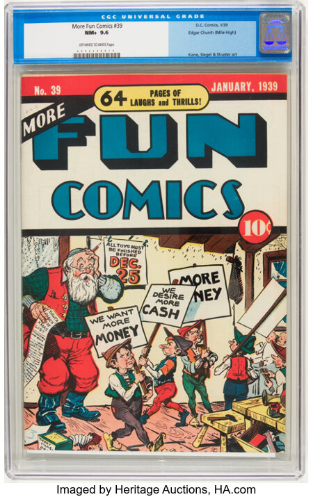More Fun Comics #39 Mile High pedigree (DC, 1939) CGC NM+ 9.6 Off-white to white pages....