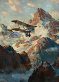 Mainstream Illustration, MANNING DE VILLENEUVE LEE (American, 1894-1980). The AirMail. Oil on canvas. 29.75 x 21.5 in.. Signed lower right. ...