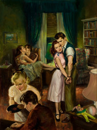 RAYMOND PEASE (American, b. 1908) Baby Sitter, paperback digest cover, 1952 Oil on board 24 x 18