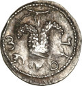 Ancients:Judaea, Ancients: Judaea. Bar Kochba Revolt. 132-135 C.E. AR zuz (19 mm,3.01 g, 7 h). Undated, year 3 (134/5 C.E.)....