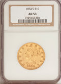 Liberty Eagles: , 1854-S $10 AU53 NGC. NGC Census: (57/134). PCGS Population (25/35).Mintage: 123,826. Numismedia Wsl. Price for problem fre...