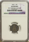 Seated Dimes, 1863 10C --Obverse Improperly Cleaned--NGC. AU Details....