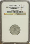 Alaska Tokens, Complete Set of (1935) Alaska Rural Rehabilitation Corp. Tokens AU58 to MS63 NGC.... (Total: 8 tokens)