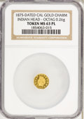 California Gold Charms, 1875 Indian Octagonal Quarter Gold Charm MS63 Prooflike NGC....