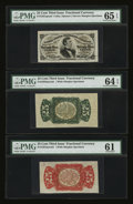 Fractional Currency:Third Issue, Fr. 1291/4SP 25¢ Third Issue Wide Margin set of Three PMG Gem Uncirculated 65 EPQ, 64EPQ and 61.... (Total: 3 notes)