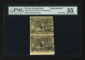 Fractional Currency:Second Issue, Second Issue 25¢ Experimental Vertical Pair PMG About Uncirculated 55. . ...