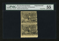 Second Issue 25¢ Experimental Vertical Pair PMG About Uncirculated 55
