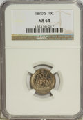 Seated Dimes, 1890-S 10C MS64 NGC....