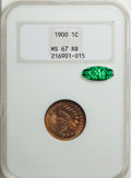 Indian Cents, 1900 1C MS67 Red and Brown NGC. CAC....