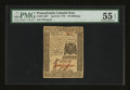 Colonial Notes:Pennsylvania, Pennsylvania April 25, 1776 30s PMG About Uncirculated 55 EPQ....