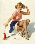 Pin-up and Glamour Art, GIL ELVGREN (American, 1914-1980). Looking for Trouble,1953. Oil on canvas. 30 x 24 in.. Signed lower right. ...