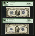 Small Size:Silver Certificates, Fr. 1702/Fr. 1701 $10 1934A/1934 Mule Silver Certificates. Reverse Changeover Pair. PCGS Choice New 63PPQ.. ... (Total: 2 notes)