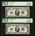 Small Size:Silver Certificates, Fr. 1702/Fr. 1701 $10 1934A/1934 Mule Silver Certificates. Reverse Changeover Pair. PCGS Very Choice New 64PPQ.. ... (Total: 2 notes)