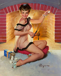 GIL ELVGREN (American, 1914-1980) A Warm Welcome, 1959 Oil on canvas 30 x 24 in. Signed lower