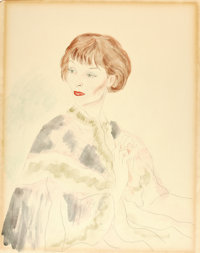 CECIL WALTER HARDY BEATON (British, 1904-1980) Portrait of Katharine Hepburn, 1935 Watercolor and gr