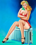 Pin-up and Glamour Art, PETER DRIBEN (American, 1902-1968). Wink cover, January1947. Oil on board. 29 x 23 in.. Signed lower left. ...