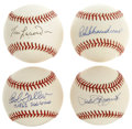 Autographs:Baseballs, Hall of Famers Single Signed Baseballs Lot of 4. Excellent quartetof Fame talent is represented here with the four officia...
