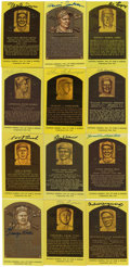 Autographs:Post Cards, Signed Gold Hall of Fame Plaques Lot of 12. One dozen Hall of Famesignatures appear here on the gold plaque postcards issu...