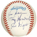 Autographs:Baseballs, 1988 New York Yankees Hall of Fame Day Baseball Signed by 3. A trioof Bronx Bomber legends appears here on a side panel of...