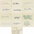 """Football Collectibles:Balls, Football Hall of Famers Signed Index Cards Lot of 47. Exceptional collection of signed 3x5"""" index cards, all coming to us c..."""