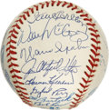 Autographs:Baseballs, 1995 Babe Ruth Museum Opening Multi-Signed Baseball. The 1995 opening of a museum dedicated to baseball behemoth Babe Ruth ...