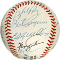 Autographs:Baseballs, 1988 New York Mets Old Timers Day Multi-Signed Baseball. A total of24 former ballplayers have checked in on the clean ONL ...