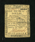 Colonial Notes:Continental Congress Issues, Continental Currency February 17, 1776 $1/6 Very Good-Fine....