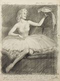 Mainstream Illustration, HARRY EKMAN (American, 1923-1999). Parrot and Pearls.Charcoal on paper. 24 x 18 in.. Signed upper right. ...