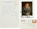 Autographs:Others, Bowie Kuhn and Warren Giles Signed Lot of (2) Plus Original Envelope.... (Total: 3 items)