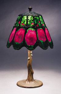 LAMP WITH MODERN RUBY-IN-ZOISITE SHADE ON AN ARTS & CRAFTS PERIOD HANDEL LAMP BASE