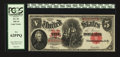 Large Size:Legal Tender Notes, Solid Serial Number Fr. 91 $5 1907 Legal Tender PCGS New 62PPQ....