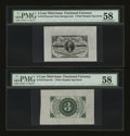 Fractional Currency:Third Issue, Fr. 1227SP 3¢ Third Issue Wide Margin Pair PMG Choice About Unc 58.... (Total: 2 notes)