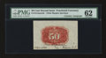 Fractional Currency:Second Issue, Fr. 1314SP 50¢ Second Issue Wide Margin Back with James Gilfillan Courtesy Autograph PMG Uncirculated 62....