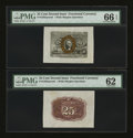 Fractional Currency:Second Issue, Fr. 1283SP 25¢ Second Issue Wide Margin Pair PMG Gem Uncirculated 66 EPQ; Uncirculated 62.... (Total: 2 notes)