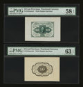 Fractional Currency:First Issue, Fr. 1243SP 10¢ First Issue Wide Margin Pair PMG Choice About Unc 58EPQ; Choice Uncirculated 63 EPQ.... (Total: 2 notes)