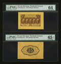 Fractional Currency:First Issue, Fr. 1282SP 25¢ First Issue Wide Margin Pair. PMG Choice Uncirculated 64; Gem Uncirculated 65 EPQ.... (Total: 2 notes)