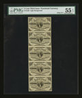 Fr. 1226 3¢ Third Issue Vertical Strip of Five PMG About Uncirculated 55 EPQ