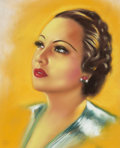 Mainstream Illustration, HENRI SABIN (French/American, 20th Century). Portrait of MerleOberon, movie magazine cover. Pastel on paper. 19 x 15.5 ...
