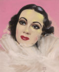 Pin-up and Glamour Art, HENRI SABIN (French/American, 20th Century). Portrait ofDelores Del Rio, movie magazine cover, 1936. Pastel onpape...