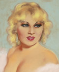 Mainstream Illustration, HENRI SABIN (American, 20th Century). Portrait of Mae West,movie magazine cover. Pastel on paper. 19 x 15.5 in.. Not si...
