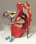 Pin-up and Glamour Art, GIL ELVGREN (American, 1914-1980). American Beauties (I Hope HeMrs. Me), 1949. Oil on canvas. 30 x 24 in.. Signed lower...