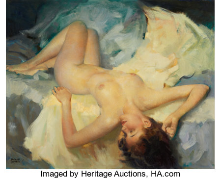 ANDREW LOOMIS (American, 1892-1959)NudeOil on canvas29.75 x 37.5 in.Signed lower left...