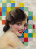 Pin-up and Glamour Art, CHARLES GATES SHELDON (American, 1889-1960). Portrait of GloriaSwanson, Photoplay cover, September 1928. Pastel on boar...