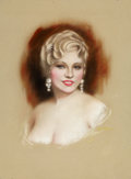 Mainstream Illustration, CHARLES GATES SHELDON (American, 1889-1960). Portrait of MaeWest, Screenland cover, 1933. Pastel on board. 23 x 17 in....(Total: 2 Items)
