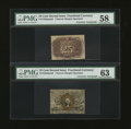 Fractional Currency:Second Issue, Fr. 1283SP 25¢ Second Issue Narrow Margin Pair with James Gilfillan Courtesy Autograph PMG Choice Uncirculated 63; Choice Abou... (Total: 2 notes)
