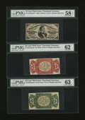 Fractional Currency:Third Issue, Fr. 1291SP 25¢ Third Issue Narrow Margin Set PMG Choice About Unc 58 EPQ, Uncirculated 62, and Choice Uncirculated 63.... (Total: 3 notes)